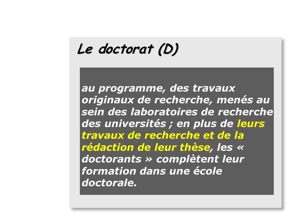 Le doctorat (D) le doctorat (D) :accessible après un Master recherche, il se prépare en 6 semestres (3 ans) minimum et est validé par un total de 480