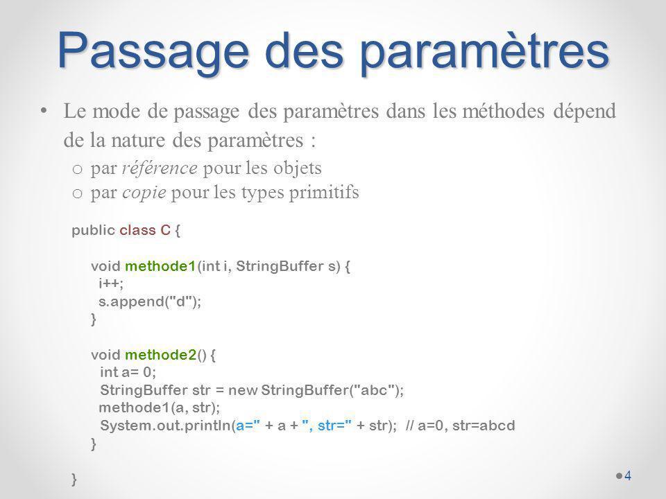 Passage par référence et constructeur par recopie (1) Le constructeur par recopie créée une instance à partir de la définition d une instance de la même classe.