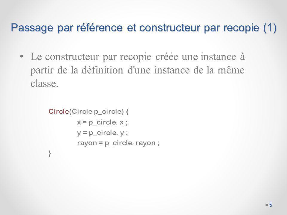 Passage par référence et constructeur par recopie (2) Ce quil ne faut pas faire : class A { int x ; … } class B { A a; … B(B b) { a = b.a; } … } 6