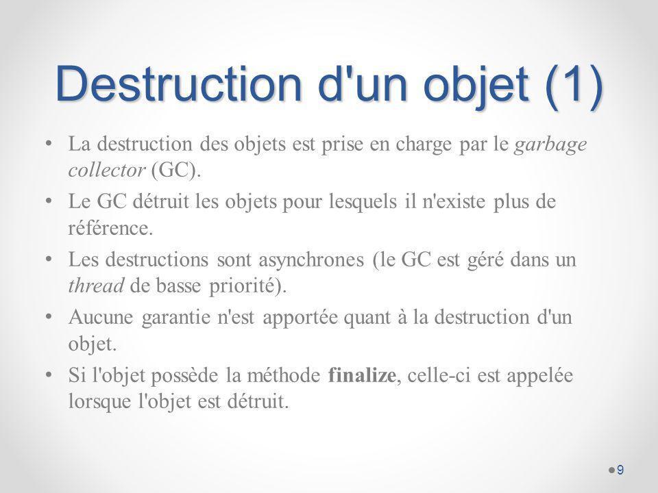 Destruction d un objet (2) class Circle {...