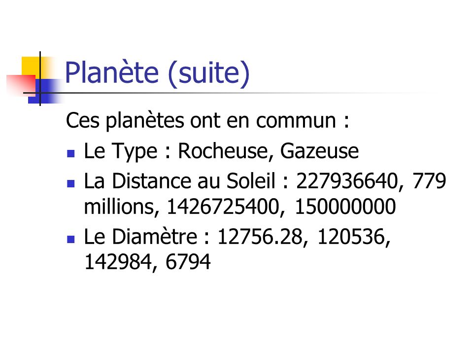 Planète (suite) Ces planètes ont en commun : Le Type : Rocheuse, Gazeuse La Distance au Soleil : 227936640, 779 millions, 1426725400, 150000000 Le Diamètre : 12756.28, 120536, 142984, 6794