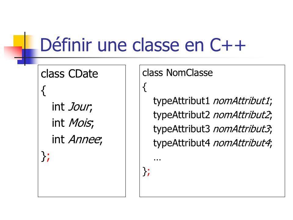 Définir une classe en C++ class CDate { int Jour; int Mois; int Annee; }; class NomClasse { typeAttribut1 nomAttribut1; typeAttribut2 nomAttribut2; typeAttribut3 nomAttribut3; typeAttribut4 nomAttribut4; … };