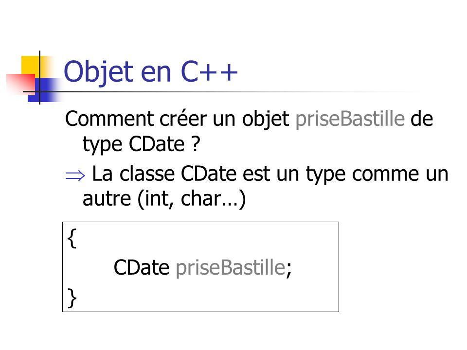 Objet en C++ Comment créer un objet priseBastille de type CDate .
