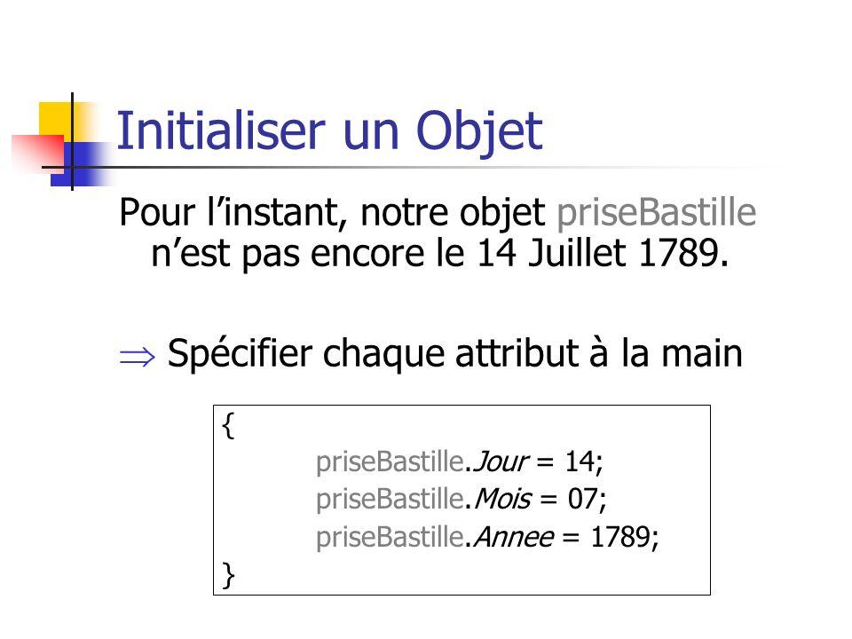Initialiser un Objet Pour linstant, notre objet priseBastille nest pas encore le 14 Juillet 1789.