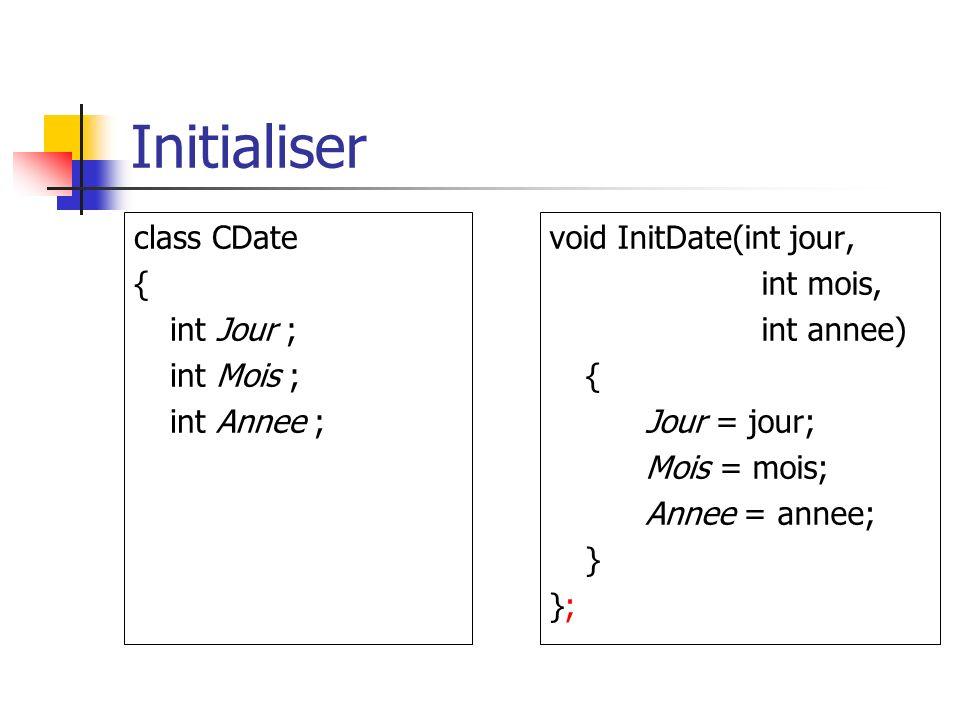 Initialiser class CDate { int Jour ; int Mois ; int Annee ; void InitDate(int jour, int mois, int annee) { Jour = jour; Mois = mois; Annee = annee; } };