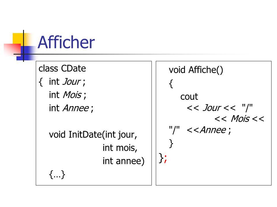 Afficher class CDate {int Jour ; int Mois ; int Annee ; void InitDate(int jour, int mois, int annee) {…} void Affiche() { cout << Jour << / << Mois << / <<Annee ; } };