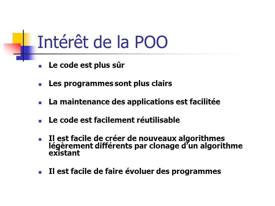 Intérêt de la POO Le code est plus sûr Les programmes sont plus clairs La maintenance des applications est facilitée Le code est facilement réutilisable Il est facile de créer de nouveaux algorithmes légèrement différents par clonage dun algorithme existant Il est facile de faire évoluer des programmes