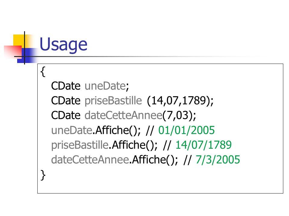 Usage { CDate uneDate; CDate priseBastille (14,07,1789); CDate dateCetteAnnee(7,03); uneDate.Affiche(); // 01/01/2005 priseBastille.Affiche(); // 14/07/1789 dateCetteAnnee.Affiche(); // 7/3/2005 }