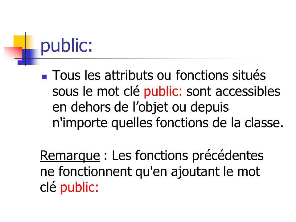 public: Tous les attributs ou fonctions situés sous le mot clé public: sont accessibles en dehors de lobjet ou depuis n importe quelles fonctions de la classe.