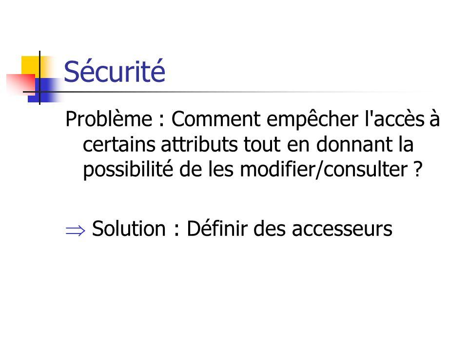 Sécurité Problème : Comment empêcher l accès à certains attributs tout en donnant la possibilité de les modifier/consulter .