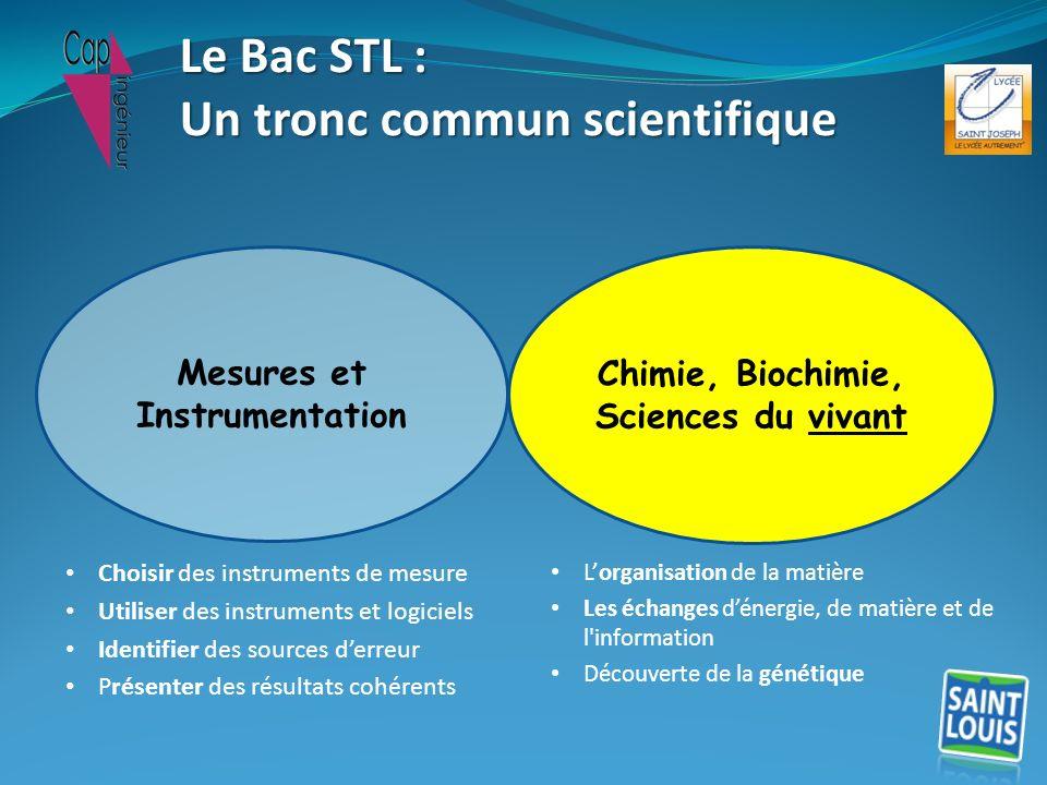 Chimie, Biochimie, Sciences du vivant Mesures et Instrumentation Le Bac STL : Un tronc commun scientifique Choisir des instruments de mesure Utiliser