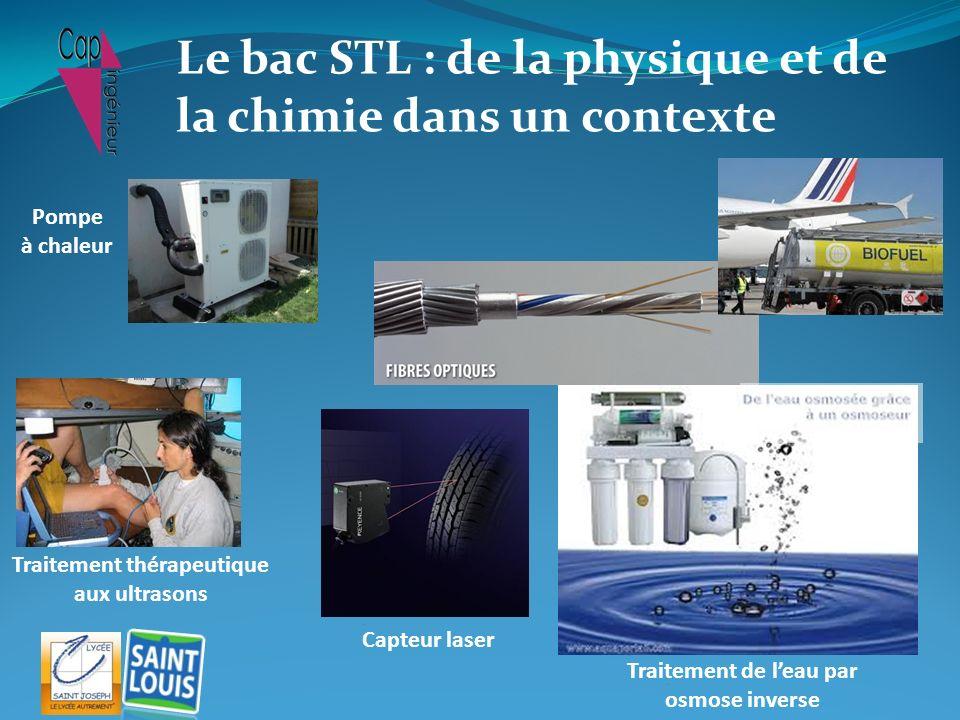 Traitement thérapeutique aux ultrasons Traitement de leau par osmose inverse Capteur laser Pompe à chaleur Le bac STL : de la physique et de la chimie