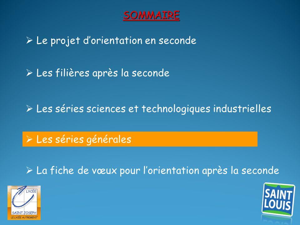 SOMMAIRE Les filières après la seconde Les séries sciences et technologiques industrielles Le projet dorientation en seconde La fiche de vœux pour lor