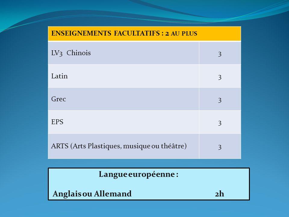ENSEIGNEMENTS FACULTATIFS : 2 AU PLUS LV3 Chinois3 Latin3 Grec3 EPS3 ARTS (Arts Plastiques, musique ou théâtre)3