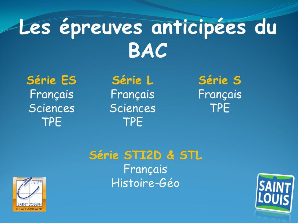 Les épreuves anticipées du BAC Série L Français Sciences TPE Série S Français TPE Série STI2D & STL Français Histoire-Géo Série ES Français Sciences T