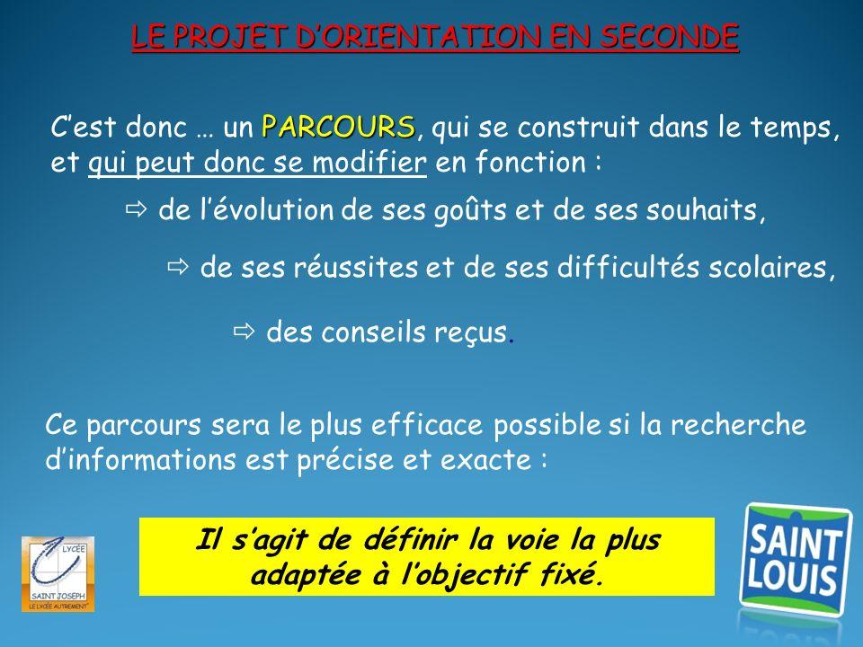 Lorientation en seconde : 2013/2014 JANVIER : présentation des filières après la seconde.