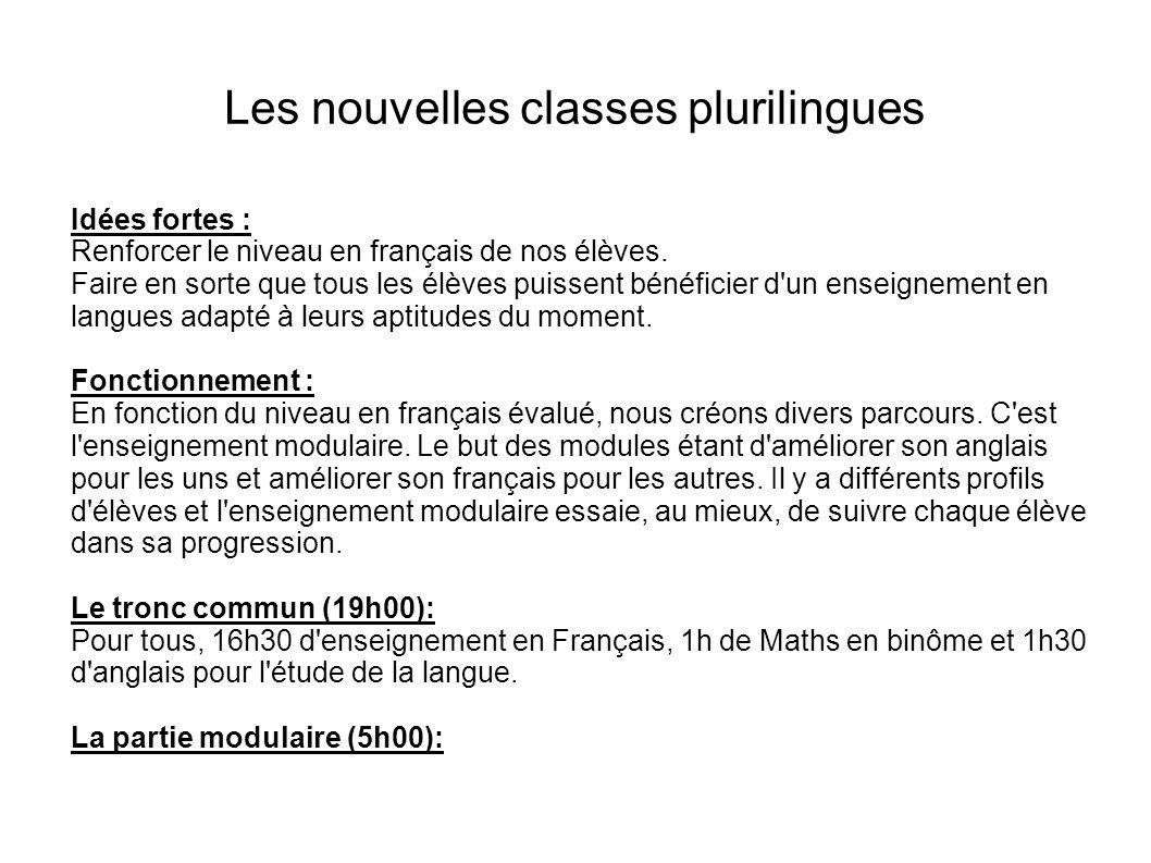 Les nouvelles classes plurilingues Idées fortes : Renforcer le niveau en français de nos élèves. Faire en sorte que tous les élèves puissent bénéficie