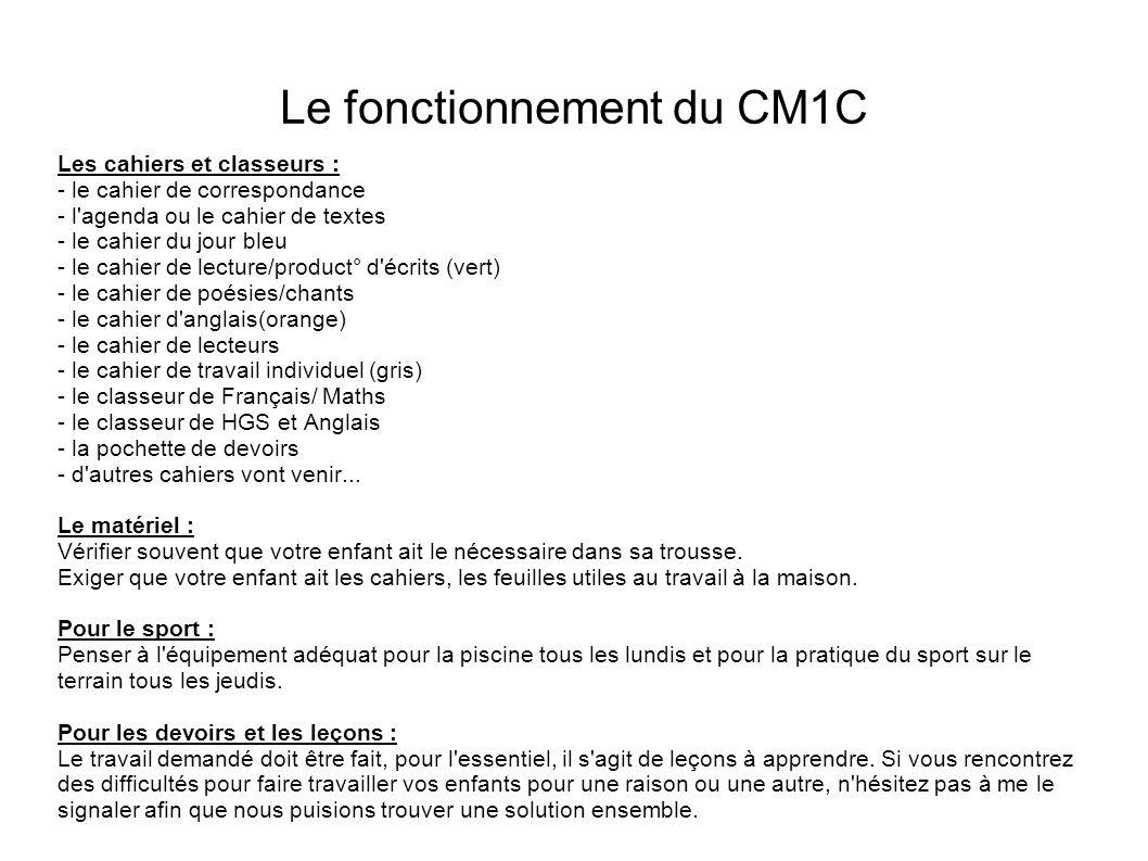 Le fonctionnement du CM1C Les cahiers et classeurs : - le cahier de correspondance - l'agenda ou le cahier de textes - le cahier du jour bleu - le cah