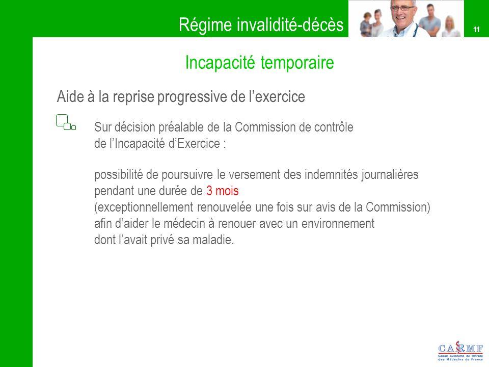 11 Sur décision préalable de la Commission de contrôle de lIncapacité dExercice : possibilité de poursuivre le versement des indemnités journalières p