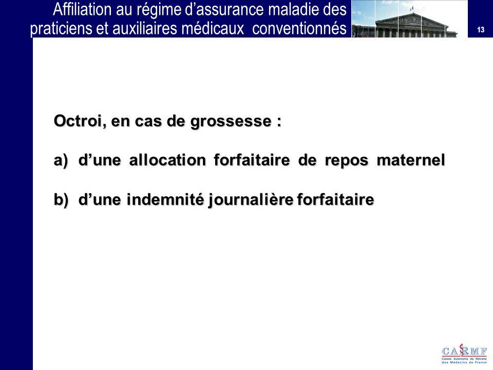 13 Affiliation au régime dassurance maladie des praticiens et auxiliaires médicaux conventionnés (PAMC) Octroi, en cas de grossesse : a)dune allocatio