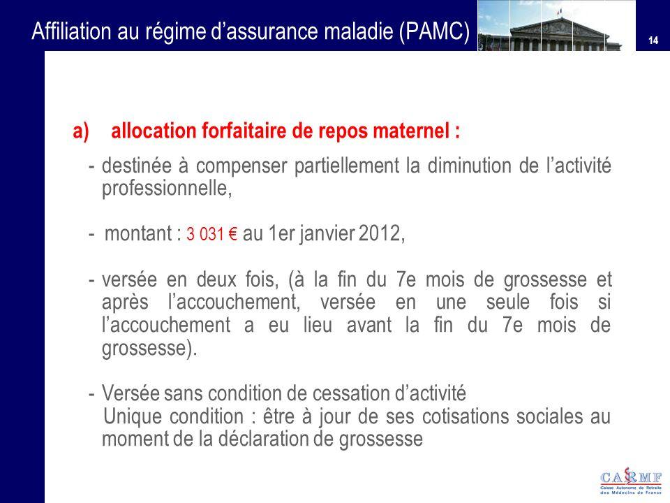 14 Affiliation au régime dassurance maladie (PAMC) - destinée à compenser partiellement la diminution de lactivité professionnelle, - montant : 3 031