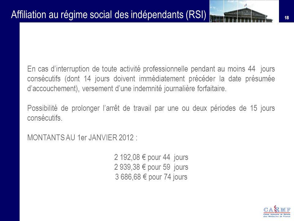 18 Affiliation au régime social des indépendants (RSI) En cas dinterruption de toute activité professionnelle pendant au moins 44 jours consécutifs (d
