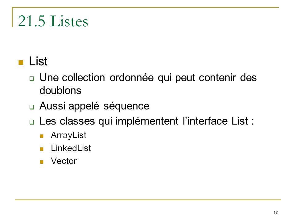 10 21.5 Listes List Une collection ordonnée qui peut contenir des doublons Aussi appelé séquence Les classes qui implémentent linterface List : ArrayL