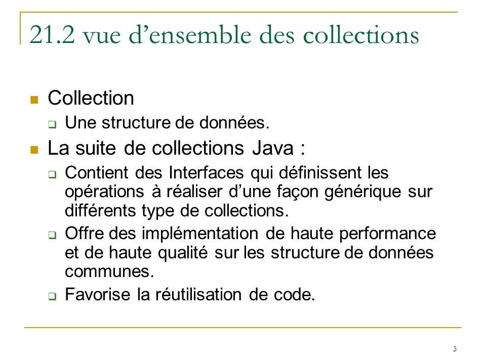 3 21.2 vue densemble des collections Collection Une structure de données. La suite de collections Java : Contient des Interfaces qui définissent les o