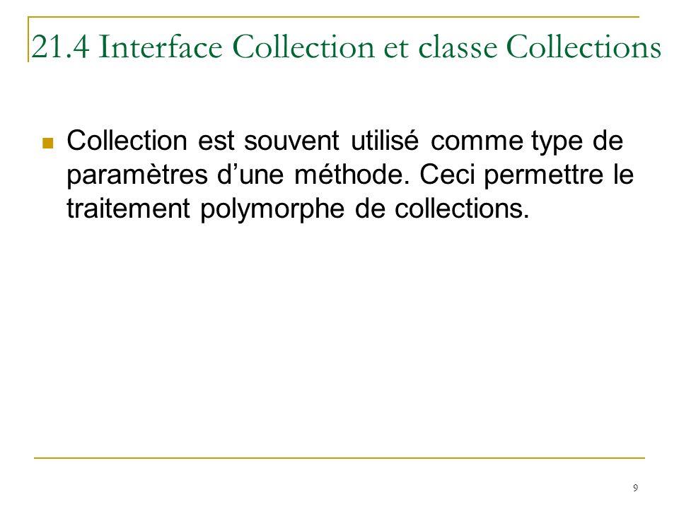 10 21.5 Listes List Une collection ordonnée qui peut contenir des doublons Aussi appelé séquence Les classes qui implémentent linterface List : ArrayList LinkedList Vector
