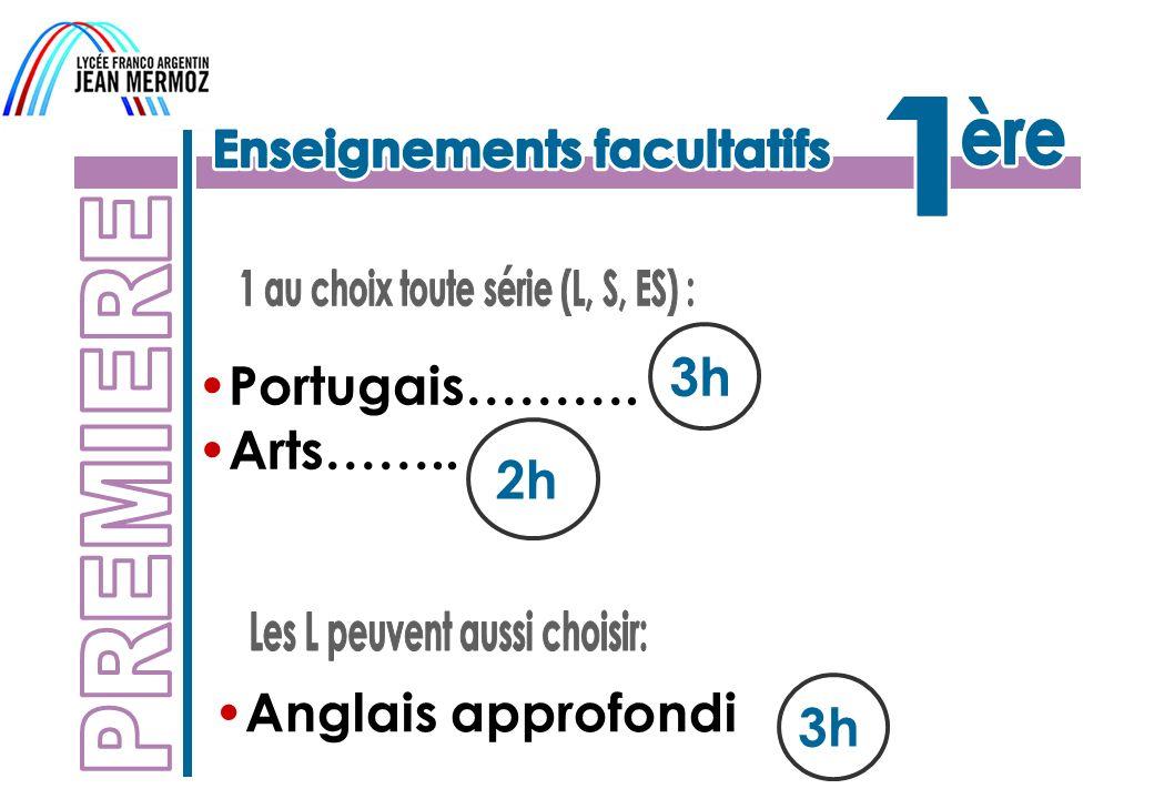 3h Portugais………. Arts…….. 2h Anglais approfondi 3h