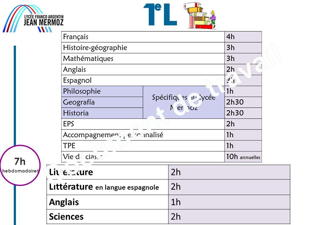 7h hebdomadaire s Littérature2h Littérature en langue espagnole 2h Anglais1h Sciences2h