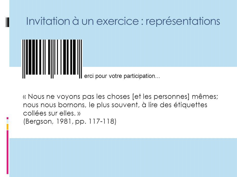 Invitation à un exercice : représentations erci pour votre participation...