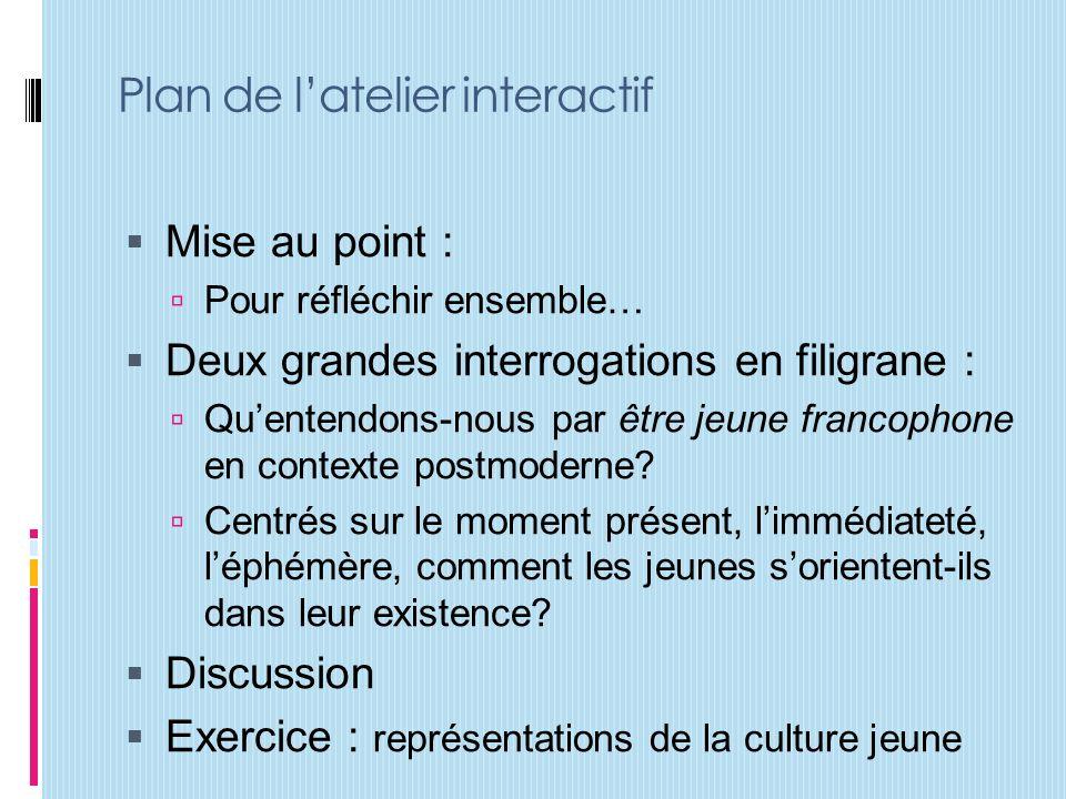 Plan de latelier interactif Mise au point : Pour réfléchir ensemble… Deux grandes interrogations en filigrane : Quentendons-nous par être jeune francophone en contexte postmoderne.