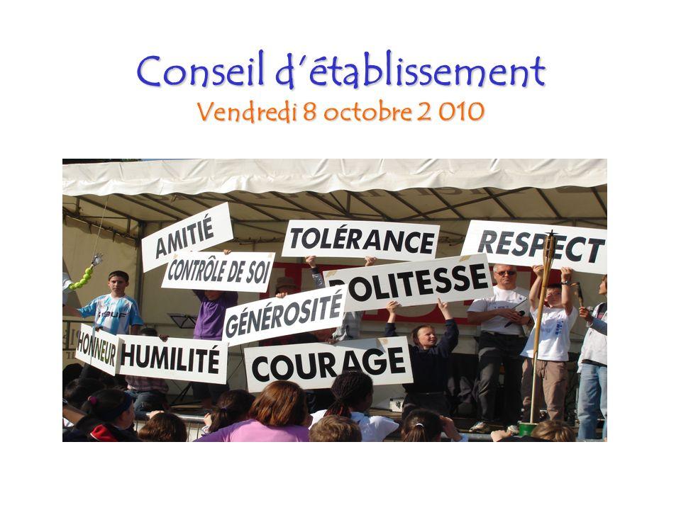 Conseil détablissement Vendredi 8 octobre 2 010 Vendredi 8 octobre