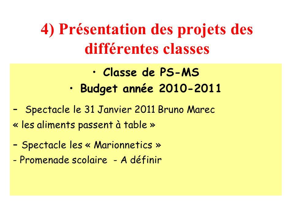 4) Présentation des projets des différentes classes Classe de PS-MS Budget année 2010-2011 - Spectacle le 31 Janvier 2011 Bruno Marec « les aliments p