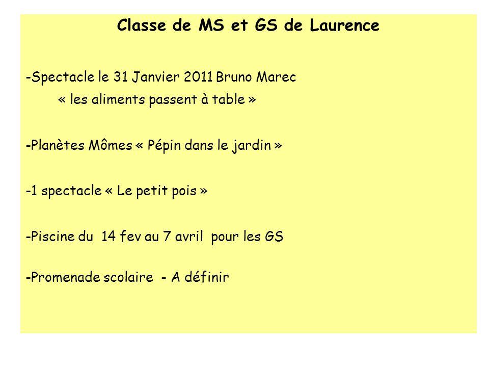 Classe de MS et GS de Laurence -Spectacle le 31 Janvier 2011 Bruno Marec « les aliments passent à table » -Planètes Mômes « Pépin dans le jardin » -1
