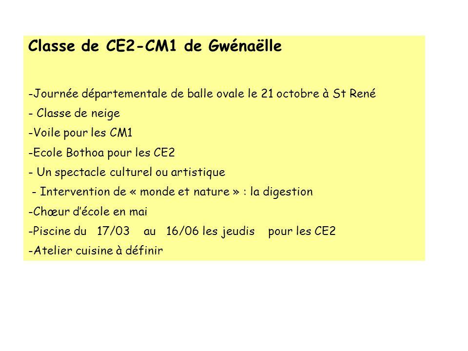 Classe de CE2-CM1 de Gwénaëlle -Journée départementale de balle ovale le 21 octobre à St René - Classe de neige -Voile pour les CM1 -Ecole Bothoa pour