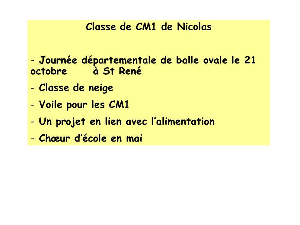 Classe de CM1 de Nicolas - Journée départementale de balle ovale le 21 octobre à St René - Classe de neige - Voile pour les CM1 - Un projet en lien av