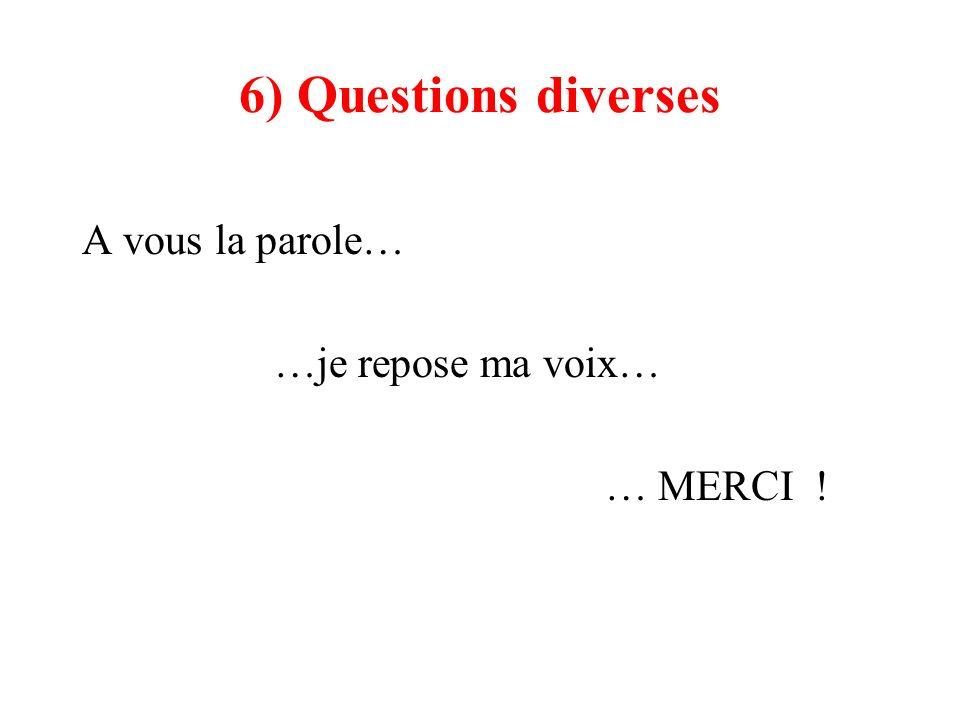 6) Questions diverses A vous la parole… …je repose ma voix… … MERCI !