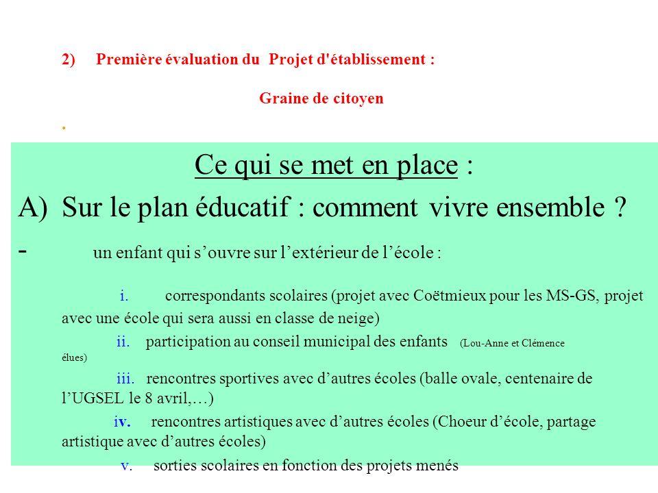 2) Première évaluation du Projet d'établissement : Graine de citoyen. Ce qui se met en place : A)Sur le plan éducatif : comment vivre ensemble ? - un