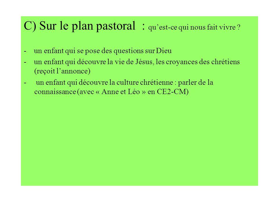 C) Sur le plan pastoral : quest-ce qui nous fait vivre ? - un enfant qui se pose des questions sur Dieu - un enfant qui découvre la vie de Jésus, les