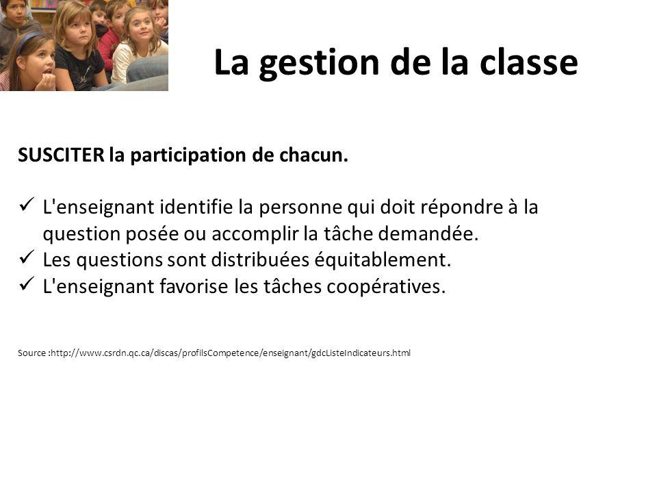 La gestion de la classe SUSCITER la participation de chacun. L'enseignant identifie la personne qui doit répondre à la question posée ou accomplir la