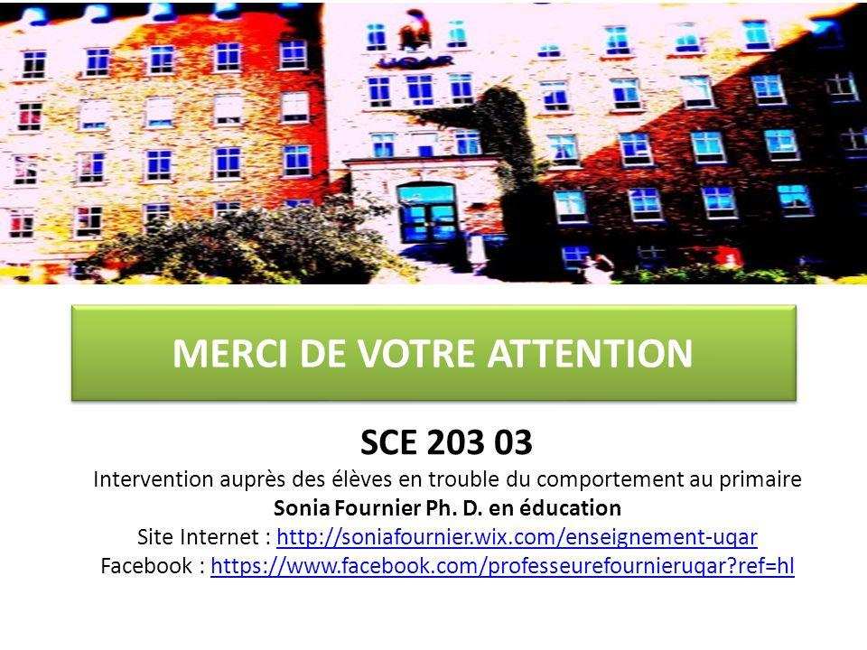 MERCI DE VOTRE ATTENTION SCE 203 03 Intervention auprès des élèves en trouble du comportement au primaire Sonia Fournier Ph. D. en éducation Site Inte