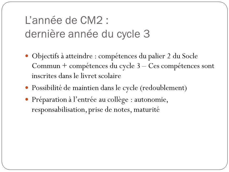Lannée de CM2 : dernière année du cycle 3 Objectifs à atteindre : compétences du palier 2 du Socle Commun + compétences du cycle 3 – Ces compétences s