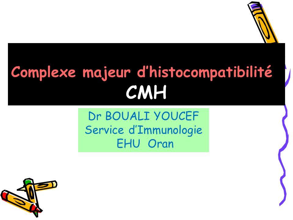 Complexe majeur dhistocompatibilité CMH Dr BOUALI YOUCEF Service dImmunologie EHU Oran