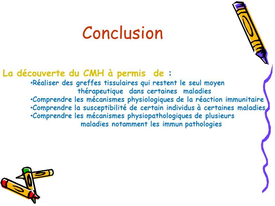 La découverte du CMH à permis de : Réaliser des greffes tissulaires qui restent le seul moyen thérapeutique dans certaines maladies Comprendre les méc