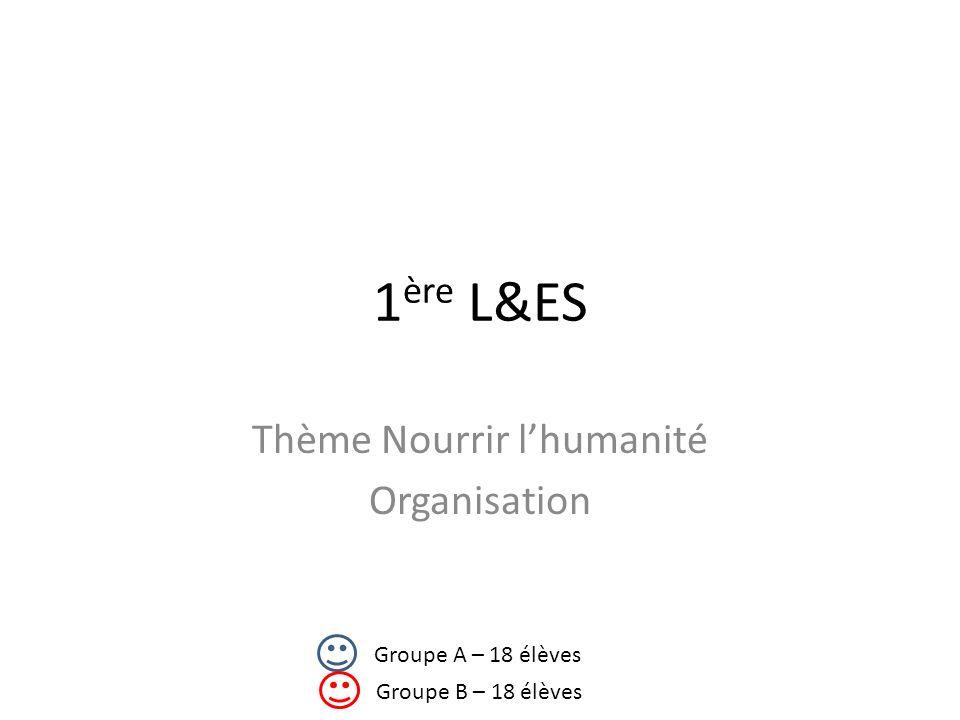 1 ère L&ES Thème Nourrir lhumanité Organisation Groupe A – 18 élèves Groupe B – 18 élèves