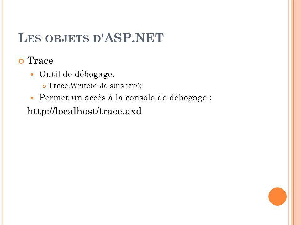 L ES OBJETS D ASP.NET Trace Outil de débogage.