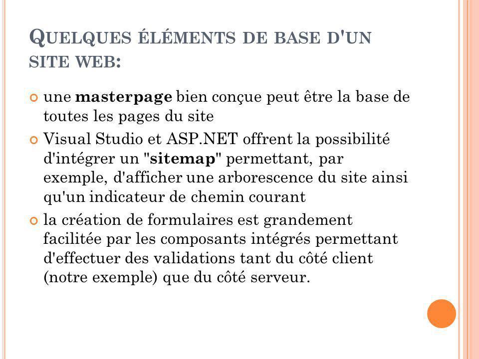 Q UELQUES ÉLÉMENTS DE BASE D UN SITE WEB : une masterpage bien conçue peut être la base de toutes les pages du site Visual Studio et ASP.NET offrent la possibilité d intégrer un sitemap permettant, par exemple, d afficher une arborescence du site ainsi qu un indicateur de chemin courant la création de formulaires est grandement facilitée par les composants intégrés permettant d effectuer des validations tant du côté client (notre exemple) que du côté serveur.