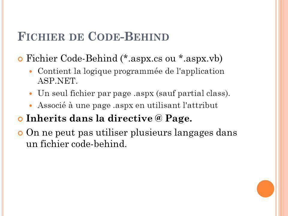 F ICHIER DE C ODE -B EHIND Fichier Code-Behind (*.aspx.cs ou *.aspx.vb) Contient la logique programmée de l application ASP.NET.